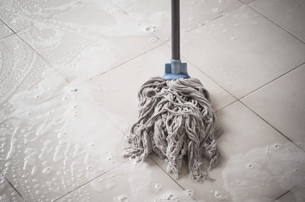 cleaning kitchen tiles